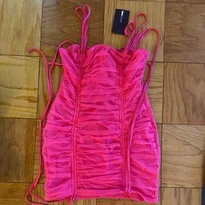 Pink Draped Mini Dress